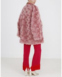 Stella McCartney - Red Elina Faux Fur Coat - Lyst