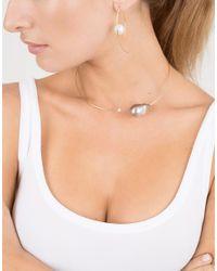 Mizuki | Metallic Floating Pearl Marquis Hoop Earrings | Lyst