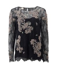 Marchesa | Black Chantilly Lace Top With Beading | Lyst