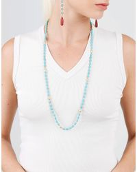 Sylva & Cie - Metallic Turquoise And Gold Beaded Necklace - Lyst