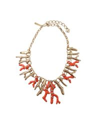 Oscar de la Renta - Red Resin Coral Necklace - Lyst