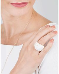 Bibi Van Der Velden - Metallic Hand Wrap Ivory Ring - Lyst