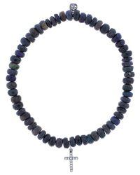 Sydney Evan - Blue Diamond Pave Cross Charm Bracelet - Lyst
