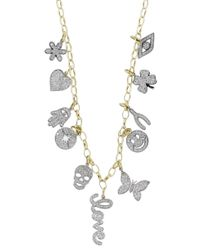 Sydney Evan | Metallic Mini Pave Charm Necklace | Lyst