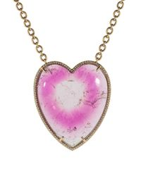 Irene Neuwirth - Pink Bi-color Tourmaline Heart Necklace - Lyst
