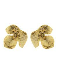 Oscar de la Renta - Metallic Foliage Small Earrings - Lyst
