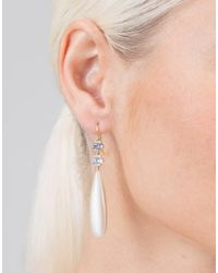Sylva & Cie - Metallic Drop Earrings With Grey Diamonds - Lyst