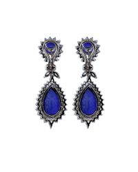 Fantasia Jewelry - Blue Round And Pear Drop Marquis Earrings - Lyst