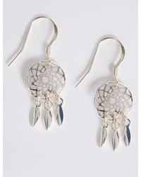 Marks & Spencer - Metallic Silver Plated Drop Earrings - Lyst