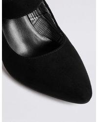 Marks & Spencer - Black Block Heels Court Shoes - Lyst