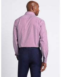 Marks & Spencer - Purple Pure Cotton Easy To Iron Regular Fit Shirt for Men - Lyst