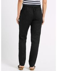 Marks & Spencer - Black Pure Linen Peg Trousers - Lyst