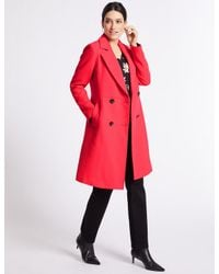 Marks & Spencer - Pink Stitch Detail Textured Coat - Lyst