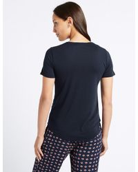 Marks & Spencer - Blue Relaxed Crew Neck T-shirt - Lyst