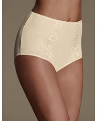 Marks & Spencer - Natural Cotton Rich Embroidered High Rise Full Briefs - Lyst
