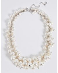 Marks & Spencer - Multicolor Pearl Effect Cluster Necklace - Lyst