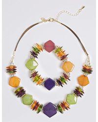 Marks & Spencer - Metallic Chunky Nugget Necklace & Bracelet Set - Lyst