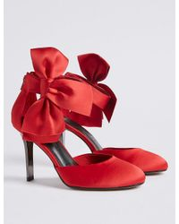 301e6fae4ca Lyst - Marks   Spencer Stiletto Bow Satin Two Part Court Shoes in Red