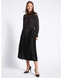 2e8ef8e35e Marks & Spencer Velvet Pleated A-line Midi Skirt in Black - Lyst