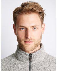 Marks & Spencer - Gray Textured Zipped Through Fleece Top for Men - Lyst