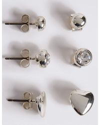 Marks & Spencer - Metallic Silver Plated Assorted Stud Trio Earrings Set - Lyst