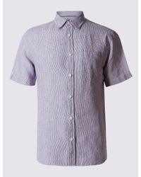 Marks & Spencer - Purple Pure Linen Easy Care Slim Fit Shirt for Men - Lyst