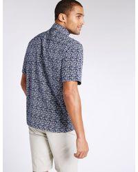 Marks & Spencer - Blue Easy Care Printed Shirt for Men - Lyst