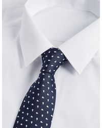Marks & Spencer - Blue Pure Silk Geo Print Tie for Men - Lyst