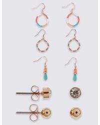 Marks & Spencer - White Mixed Multi Pack Earrings Set - Lyst