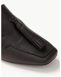 Marks Amp Spencer Leather Tassel Loafers In Black Lyst