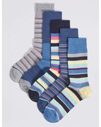 Marks & Spencer - Blue 5 Pack Cool & Freshfeettm Striped Socks for Men - Lyst