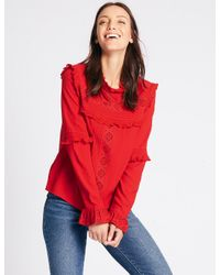 fc0743687a0f5a Marks & Spencer Ruffle Round Neck Long Sleeve Blouse in Red - Lyst