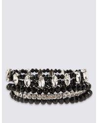 Marks & Spencer - Black Diamanté Multi-strand Sparkle Stretch Bracelet - Lyst