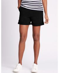 Marks & Spencer - Black Pure Cotton Rolled Hem Chino Shorts - Lyst