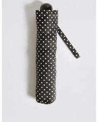 Marks & Spencer - Black Spotted Compact Umbrella With Stormweartm - Lyst