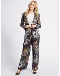 Marks & Spencer - Purple Floral Print Single Breasted Blazer - Lyst