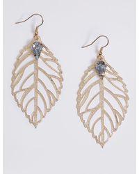 Marks & Spencer - Metallic Leaf Drop Earrings - Lyst