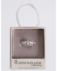 Marks & Spencer - Metallic Platinum Plated Diamanté Crown Ring - Lyst