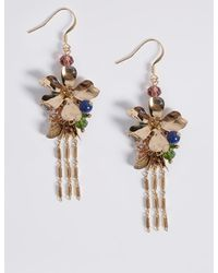 Marks & Spencer - Multicolor Floral Chain Drop Earrings - Lyst