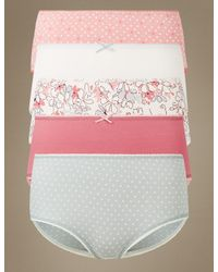 Marks & Spencer | Pink 5 Pack Cotton Rich Midi Knickers | Lyst
