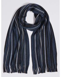 Marks & Spencer - Blue Striped Raschel Scarf for Men - Lyst