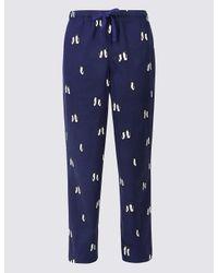 Marks & Spencer - Blue Supersoft Printed Pyjama Bottoms for Men - Lyst