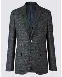 Marks & Spencer - Gray Wool Blend Knitted Check Jacket for Men - Lyst