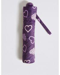 Marks & Spencer - Purple Heart Print Umbrella With Stormweartm - Lyst