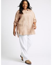 Marks & Spencer - Natural Curve Pure Linen Long Sleeve Shirt - Lyst