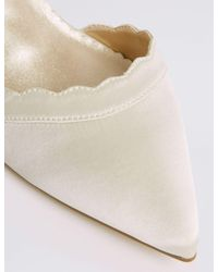 Marks & Spencer - White Kitten Heel Scallop Court Shoes - Lyst
