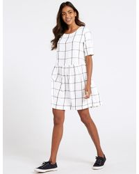 b521396b8ec Lyst - Marks   Spencer Pure Cotton Checked Drop Waist Dress in White