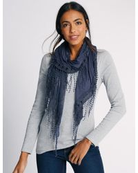 Marks & Spencer - Blue Butterfly Lace Scarf - Lyst