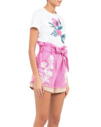 Mary Katrantzou - Pink Andy Embroidered Shorts - Lyst