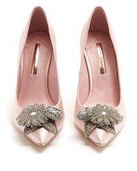Sophia Webster - Pink Lilico Crystal-embellished Satin Pumps - Lyst